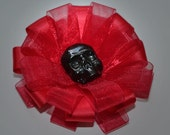 Shimmer Black and Red - Skull Bow Brooch / Clip Duo
