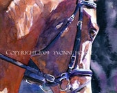 Horse Art Watercolor Print Dressage Horse - Listening