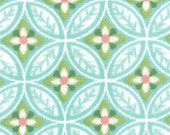 Flora Geometric Leaves Turquoise 3/8 yard