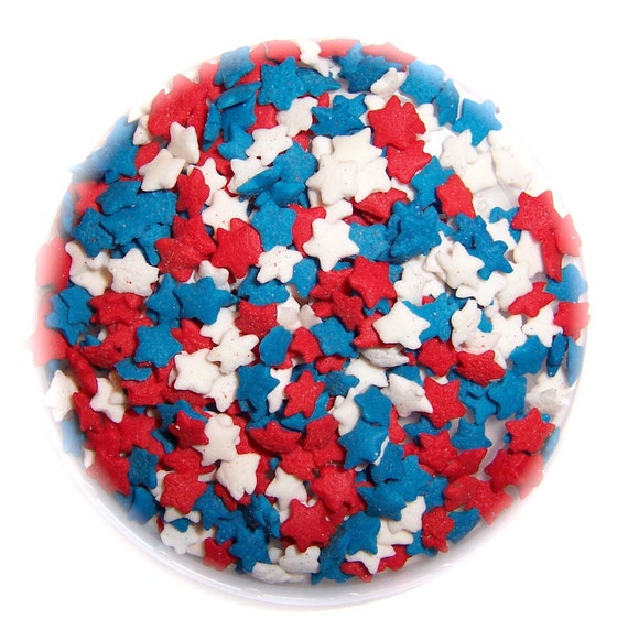 Blue Cake Decorating Sprinkles : PATRIOTIC STAR CONFETTI Edible Sprinkles Cake Cakepops