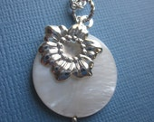 Necklace with SunFlower Charm and Pearl disc / coin