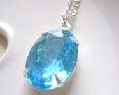 Silver Necklace Estate Style, Aquamarine Blue stone pendant, March Birthstone, Something Blue, wedding Jewelry, bridesmaid gift