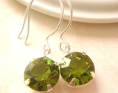 Olivine green Swarovski stone Silver earrings, bridesmaid gift, Wedding earrings