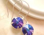 Heliotrope Swarovski stone Silver earrings, bridesmaid gift, Wedding earrings, Deep Blue and Dark purple nuances