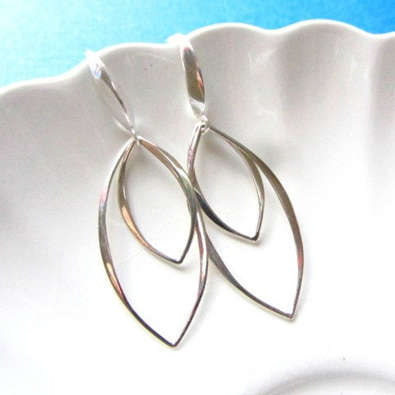 Sterling Silver 2 two Marquis links Dangle Earrings, Minimal Collection, bridesmaids gifts, Modern