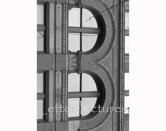 The Letter B  Black and White Alphabet Photography Art 4x6 by Letter Pictures