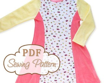 Sunshine Dress Sewing Pattern - Printable PDF - Girls Sizes 2 through 8 - Long and short sleeve - Instant Download