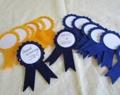 Blue and Gold Felt AWARD Ribbons- DIY Awards-First Place Award Ribbons-Trophy Ribbons-Graduation Party