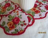Handmade Shabby Chic Teapot Shaped Coasters- Teapot Mug Mats- Red Rose Fabric Coasters-Felt Backing-Hostess Gifts