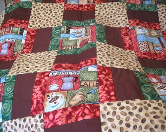 Quilted Coffee Wall Hanging-Handmade Quilt-Coffee Theme-Wall Hanging