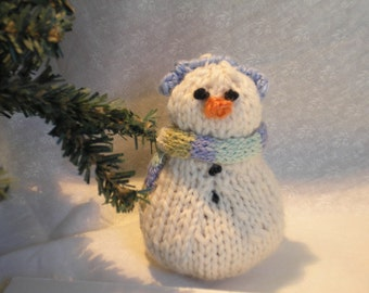 Hand Knitted Snow Family Baby Snowman-Small Snowman- Knitted Snowman Baby-Holiday Decor-Handmade Snowmen Doll