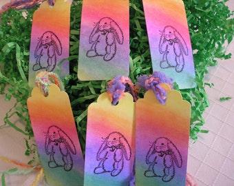 Rainbow Bunny Tags-Hand Stamped Bunny Rabbit Tags.  Rainbow Bookmark- Handmade