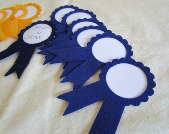 Prize Ribbons- First Place-Blue and Gold AWARD Ribbon-Felt Award Ribbons-Trophy Ribbons-Quiet Books