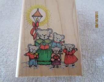 Caroling Mice Family -Victorian Christmas Rubber Stamp