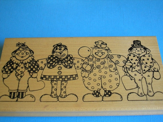 Clown Rubber Stamp- Stamp Birthday Party Invites -Circus Theme Stamp