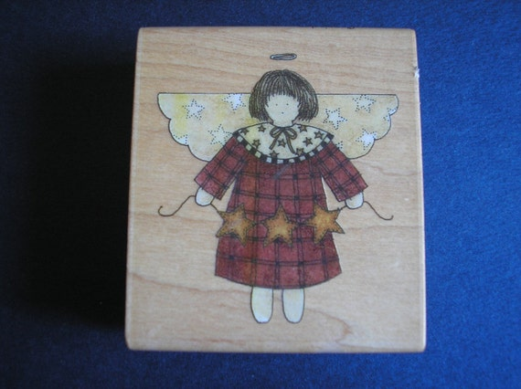 Country Angel Rubber Stamp