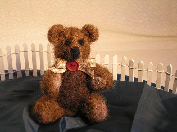 Snickers The Needle Felted Bear-Fiber Art Bear-Felted Teddy Bear-Brown Art Bear-Bear Doll-Rustic Decoration-Gift