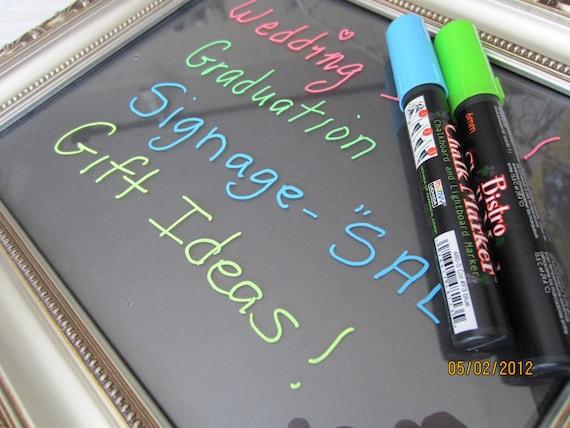Fluorescent Blue Chalkboard Markers- Fluorescent Blue Chalk Pen-Bistro Chalk Marker for writing on Vinyl Chalkboard