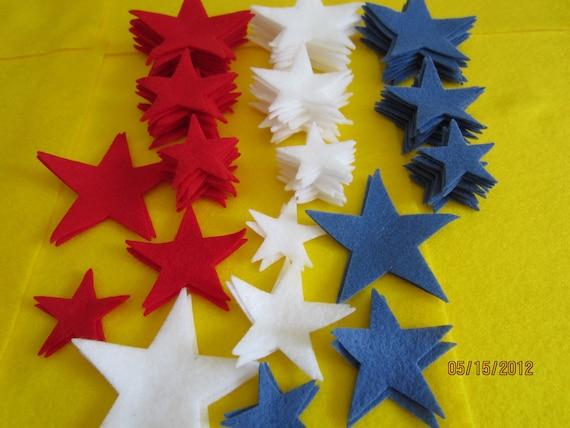 Die Cut Felt Stars - Americana Colors -108 Felt Stars-Red White and Blue-USA Flag Colors