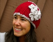 Triple Flower Ear Warmer, Red and Cream, Great Christmas Gift