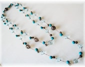 Blue quartz mix colr gemstone 48 inches silk necklace