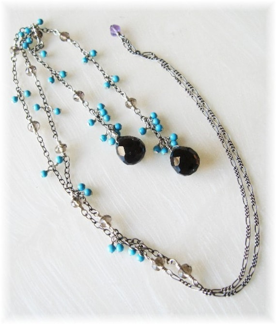 Smoky quartz and turquoise antiqued sterling silver lariat.