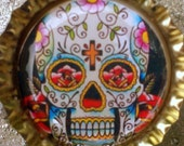 Floral pattern Day of the Dead Sugar Skull  bottle cap magnet