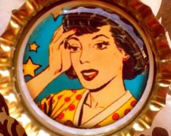 CLEARANCE-Pop Art Woman bottle cap magnet