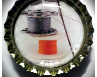 CLEARANCE-Vintage Sewing Bobbins and Thread Image bottle cap magnet