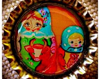 Adorable Russian Nesting Dolls bottle cap magnet