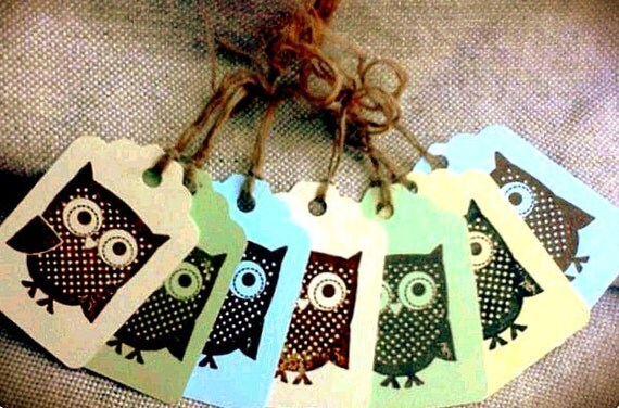 Hand Stamped Whimsy Owl Gift Tags-Set of 7