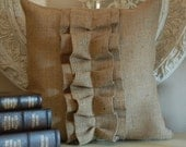 Burlap Ruffle pillow cover