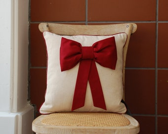 puffy bow  pillow cover