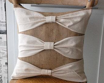 Linen bows on burlap pillow