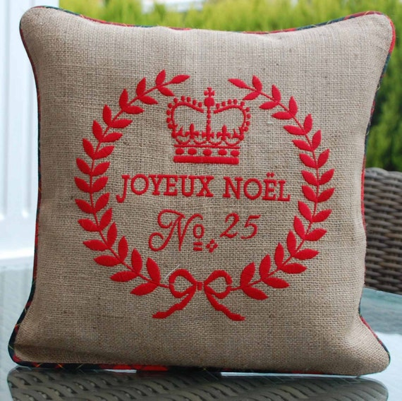 Embroidered Noel pillow cover