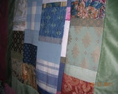 recycled patchwork fabric throw/bedcover