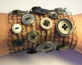 Black wire knitted and vintage button cuff/bracelet