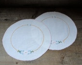 Vintage Ebroidered Doilies - Set of Two
