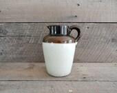 Vintage Stoneware Pitcher - Brown Glaze Top