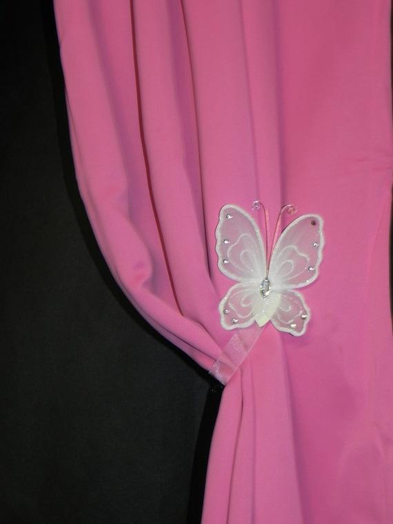 Curtain Tiebacks - Drape Holdbacks - Butterfly Nursery - Window Treatment - Shower Gift - SwagMags(TM) - Magnetic Tiebacks - ONE PAIR