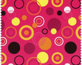Blue Hill Fabrics' Modern Blossom Circles (Pink, Yellow, Dk Brown) 1 yard