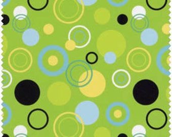 Blue Hill Fabrics' Modern Blossom Circles (Green, Blue, Black) 1 yard