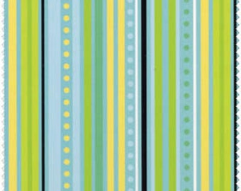 Blue Hill Fabrics' Modern Blossom Stripes (Blue, Green, Black) 1 yard