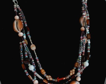 Shell, Bead, and Chain Necklace