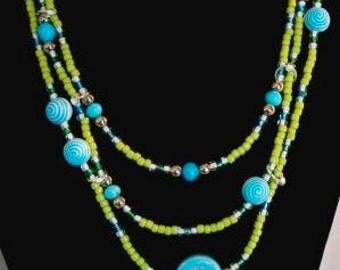 Blue Smiley Face Necklace