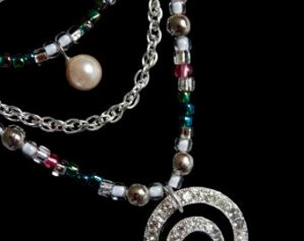 Antique Silver Swirl Layered Necklace