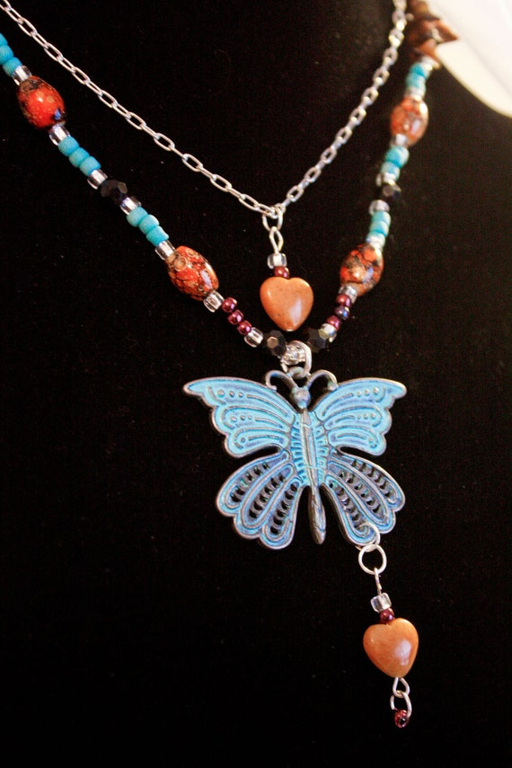 Teal Butterfly Layered Necklace