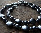 Metallic Hematite Gemstone Beaded Necklace Black Shine Sterling Silver - Rock On