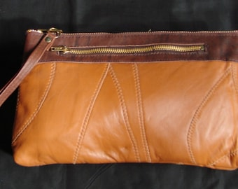 Vintage Brown Leather Clutch with Zipper