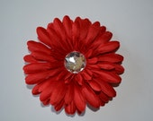 Red Flower Hair Clip - Red Gerber Daisy